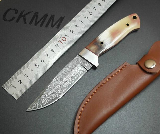 Nouveau cadeau couteaux damas couteau de chasse en plein air kit de voyage pique nique couteaux couteaux manche corne incrusté + portable de poche en cuir