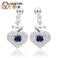 Innocent girl heart-shaped earring, Korean elegant blue zircon earrings, 925 silver upscale earrings