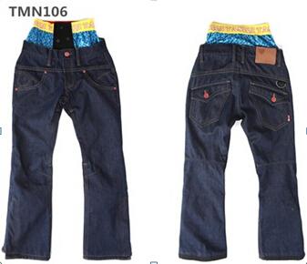 2015 New fashion cowboy waterproof breathable ski pants for men women couple warm snowboarding jean pants unisex Free shipping(China (Mainland))