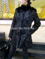 z91 New 2014 fashion back genuine real rabbit fur long coat for elegant women overcoat plus size women's outwear parka warm