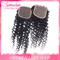 Luvin Hair Brizilian Deep Wave Lace Closure 1 pcs lot 10-20inch Natural Black Cheap Deep Curly Wave Top Lace Closure Freestyle