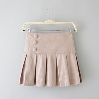 2014 women's cabbage three button pleated sweet all-match leather skirt above knee mini pleated half-skirt