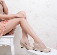 2014 women's sweet high-heeled shoes wedges shoes single shoes female lace metal decoration round toe fashion single shoes