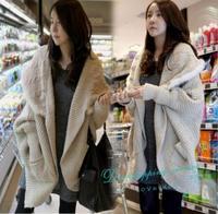2014 Winter Fur Collar Shawl Large Lapel Coat Loose Bat Sleeve Cardigan  Woman Casual Warm Sweater Free Shipping