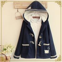 Winter women's preppy style embroidery kitten horn button woolen plus velvet wadded jacket outerwear