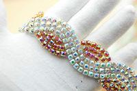 1 yard crystal   rhinestone beaded trim applique Iron On bridal  Wedding dress  applique A5018