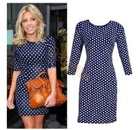 Hot Sale 2014 Autumn Women Half-Sleeve Dress Fashion Print Dot Dress Ladies Elegant Office Dresses