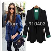 Europe 2015 Women Long Sleeve High Quality Blazer Slim Blaser Feminino Black Jacket Coat Cargidans, Formal Office Suits Work