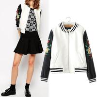Hot Sale Fashion Flowers Embroidered Pu Patchwork Long Sleeve Baseball Jacket White 8423