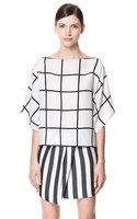 Amoon / Women Girl 2015 New Spring Summer Casual Plaid Print Chiffon O Neck Blouses Shirts / 3 Size / Batwing Sleeve