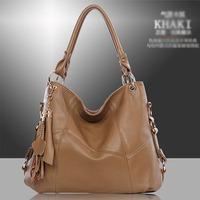 2015 Casual   PU Leather Bag Cowhide Women's Tassel Bag Shoulder Bag Vintage Handbag 3 Colors