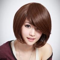 Free shipping wig \Girls with short hair wig \ oblique bangs short hair \ pear head girls wig BOBO Bobo