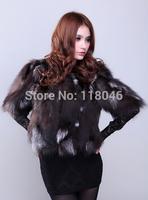 z69 New 2014 winter fashion women real sliver fox fur coat jacket womens jackets striped short overcoat slim