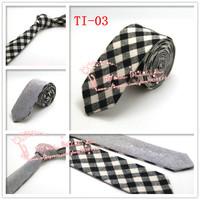 Free shipping,2015 Brand New,Mens Plaid check double wear Cotton gravata Skinny Neck Ties,Men black Beige corbatas necktie,TI03