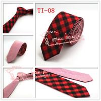 Hot selling,2015 Brand New,Men Red Black Grid corbatas necktie,Mens Plaid double wear Cotton gravata Skinny Neck Ties,TI08