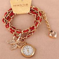 Korean New Casual Long Chain Butterfly Pendant Soft Leather Watch,Fashion Luxury Women Leisure Love Heart Quartz Bracelet Watch