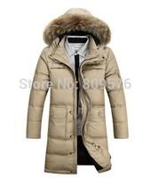Knees long men winter warm-keeping down jacket.Fur collar winter coat.90 % goose down outwear clothing.