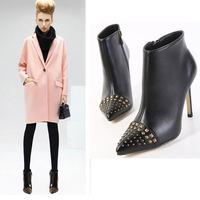 High fashion designer brands 2015 new women ankle boots heels black PU pointed toe high heels rivets vintage shoes 10cm