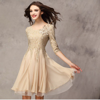 With the new spring and summer 2015 women cultivate one's morality posed chiffon dress lace dress 7 minutes of sleeve