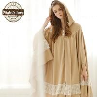 Winter fashion vintage royal quality princess 100% cotton cloak robe sleepwear lounge