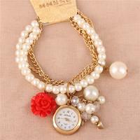Hot Listing Korean New Fashion Casual Tassel Pearl Pendant Bracelet Watch,Woman Luxury Jewelry Rose Flower Chain Quartz Watches
