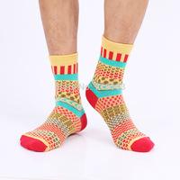 new style knitted jacquard pattern fashion vintage men socks cotton