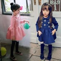 2015 New winter girls dress children wool warm dress Kids girl flowers princess dress