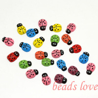300pcs Mixed Painted Wood Ladybug Craft Ornament for Scrapbooking 9*13mm (W02779)