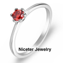 NICETER 2Colours Romantic Princess Cut Round Design Ruby/Transparent Engagement Ring With 18K Real Gold Plated Rings For Women