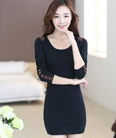 8077 # 2014 autumn and winter fashion long-sleeved dress bottoming dress OL Slim package hip dress