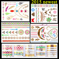 4  pcs 2015 colorful gold Necklace Metalic Tattoo Stickers Gold Temporary Tattoo Fashion Tattoo Gold Tatto Fake Tatoo for Dress