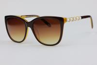 Cat Eye Plate Frame Unisex Sunglasses TF4107 Coffee color  Luxurious inlay Rhinestone Sweet style