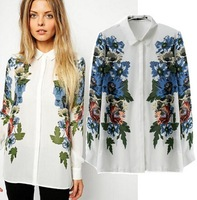 2015 European Style Women Shirt Turn-down Collar Flower Leaf Priting Loose Chiffon Spring Summer Famous Brand Tops Blouse CL2285