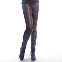 leggingWarm winter big yards plus velvet leggings women thin wild spell color leather pants down pants feet pencil pants
