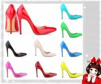 Vintage Sexy Red Bottom Pointed Toe High Heels Women Pumps Shoes 2014 Brand New Design Less Platform Pumps 15 colors LDM100