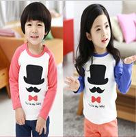2014 Korean Children's Clothing For Boys And Girls Long-sleeved T-shirt Raglan Sleeves Spring Cartoon Bottoming Shirts T-shirts