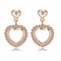 Pink Crystal Heart Earrings Bridal Earring 18K  Gold Plate Earrings Wedding Jewelry ER0060-C