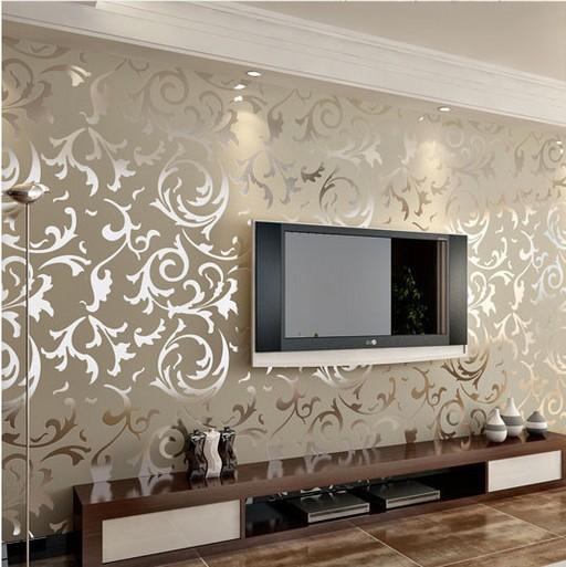 : Buy Gold / silver / Cream flock velvet victorian damask wallpaper