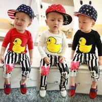 2015New Spring Girls Kids T-shirts 100% Cotton Children Long Sleeve Rubber Duck Tshirts/Children T-shirt /Kid Boy Tops And Tees