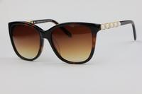 The new Plate Frame Unisex Sunglasses TF4107 Leopard colors (tortoiseshell) inlay Rhinestone Elegant Cute