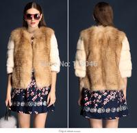 z82 European fashion women genuine natural sliver fox and mink fur coat jacket short luxury ladies overcoat striped outwear