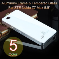 "5 Color,Aluminum Frame & Tempered Glass Back Cover 2in1 Case For ZTE Nubia Z7 Max 5.5"" 4G LTE Luxury Mobile Phone Bags Shell"