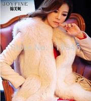 z87 New 2014 autumn winter top fashion real fox fur vest for luxury women white warm gilet waistcoat ladies overcoat vests
