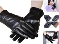 new fashion mens  winter black genuine leather sheepskin warm gloves soft rabbit fur for driving /leisure size M L XL 1301