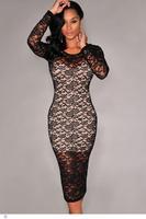 dear-lover roupas femininas vestido renda 2014 Black Nude Illusion Midi winter pencil Dress Lace LC6799