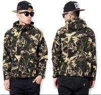 Outdoor Windproof Camo Jacket Men/ Soft Shell Camouflage Grape Leaf Sports Jacket / Hooded Jogging Hiking Jacket Man