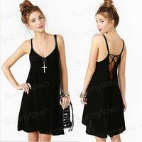 Wholesale European style New fashion 2015 spring summer dresses women backless sexy chiffon mini dress black