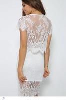 White Floral Lace Mini Skirt Set LC21780