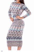 autumn winter roupas femininas Tribal Print Scoop Back Long-sleeve Midi Dress Long Sleeve Print LC6856 dear-lover