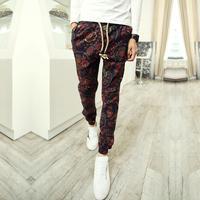 Brand Mens Retro Cotton Linen Men Joggers Harem Casual Pants Trousers Size M L XL Males Floral Flower Pants